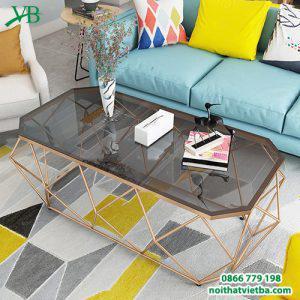 Bàn trà sofa kim loại mặt kính VB-6604