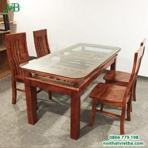 Bàn ăn 4 ghế gỗ xoan VB-4401