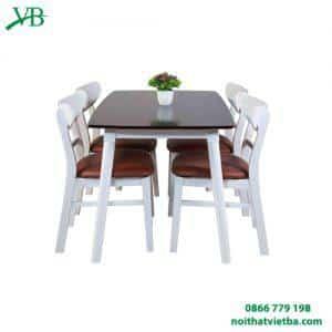 Bàn ăn mango 4 ghế nâu trắng VB-4408