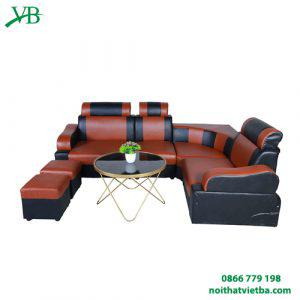 Sofa da góc màu cam và nâu VB-6000