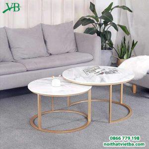 Bàn sofa mặt đá chân sắt VB-6619
