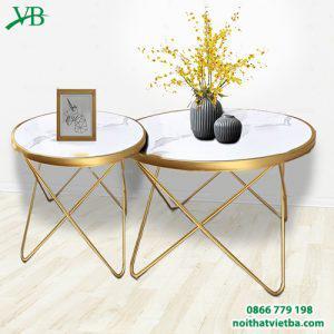 Bàn trà sofa mặt đá chân sắt hình sao VB-6615