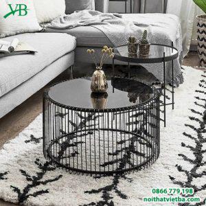 Bàn trà tròn hình trụ khung kim loại màu đen VB-6621