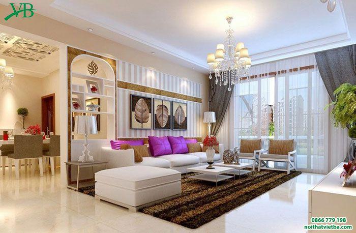 Mẫu bàn ghế hộp phòng khách màu trắng tinh khôi