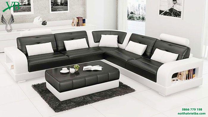 Mẫu bàn ghế hộp phòng khách với gam màu trắng đen sang trọng