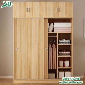 Mẫu tủ quần áo cánh lùa bằng gỗ VB-4164