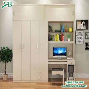 Mẫu tủ quần áo kèm bàn học VB-4165